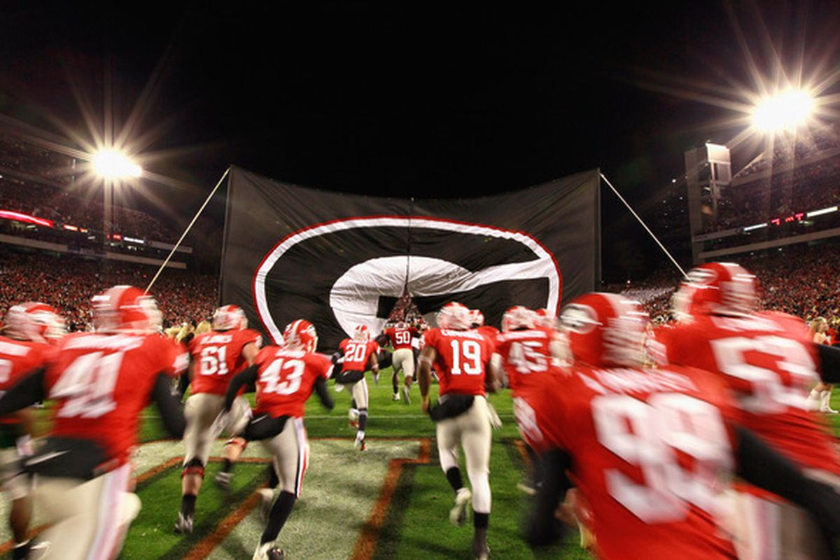 ATHENS GA - NOVEMBER 27:  The Georgia Bulldogs enter the field to face the Georgia Tech Yellow Jackets at Sanford Stadium on November 27 2010 in Athens Georgia.  (Photo by Kevin C. Cox/Getty Images)