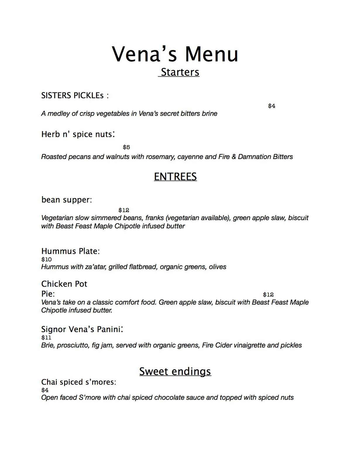vena's food menu