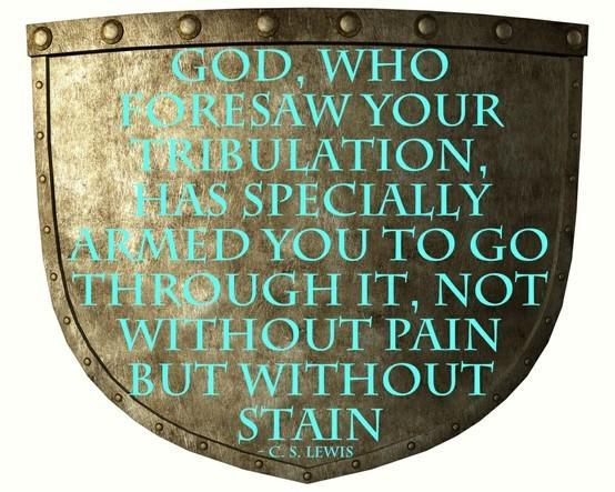 """God, who foresaw your tribulation, has specially armed you to go through it, not without pain but without stain."" — C.S. Lewis"