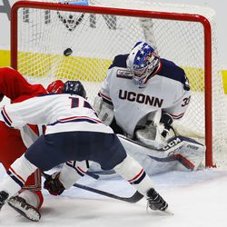 The RPI Engineers take on the UConn Huskies in a men's college hockey game at the XL Center in Hartford, CT on January 16, 2019.