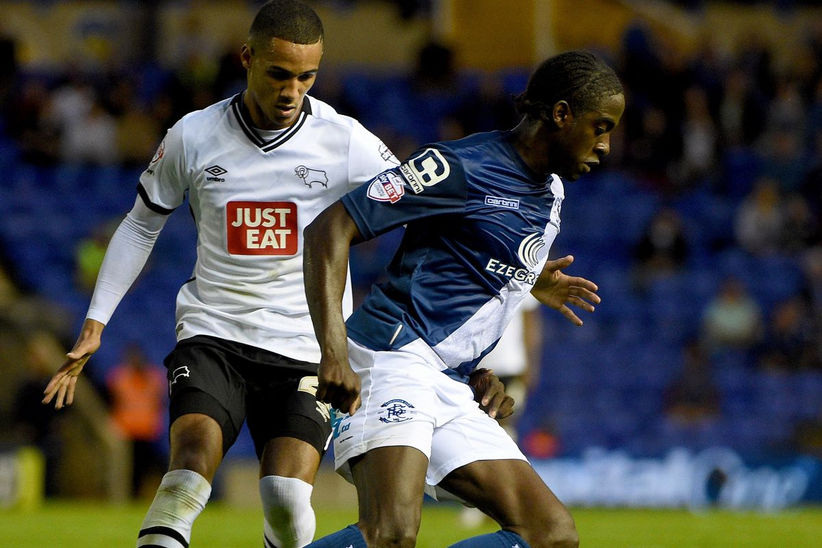 Derby County's Thomas Ince in action at Birmingham City last weekend