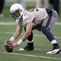 Kevin O'Mary practices with the BYU football team during spring practice at BYU in Provo on Friday, March 22, 2013.