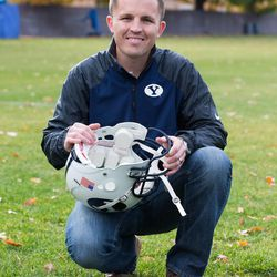 The BYU football program loaned Jake Merrell a couple of football helmets so he could build a prototype helmet that could provide team trainers on the sidelines with immediate information about the force of a hit to a player's head.