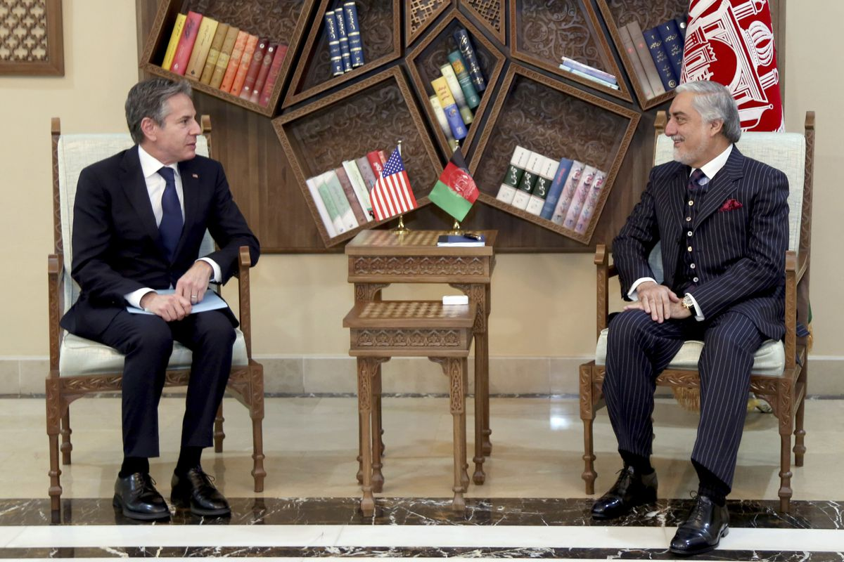 Abdullah Abdullah, Chairman of the High Council for National Reconciliation, right, meets with U.S. Secretary of State Antony Blinken, at the Sapidar Palace in Kabul, Afghanistan, Thursday, April 15, 2021.