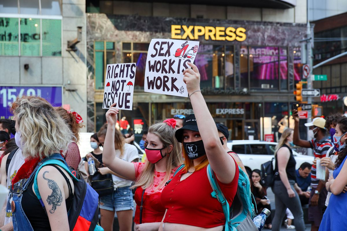 The Black Sex Worker Liberation March and Vigil in Times Square, Aug. 1, 2020.