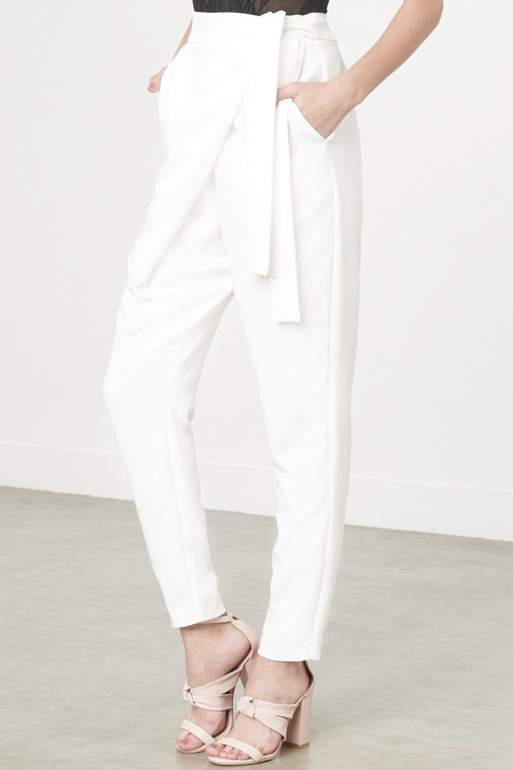 Lavish Alice Wrap-Front Crop Trousers in White, $56.33