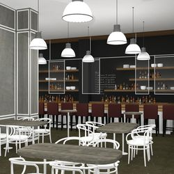 The bar has the feeling of an upscale residential kitchen