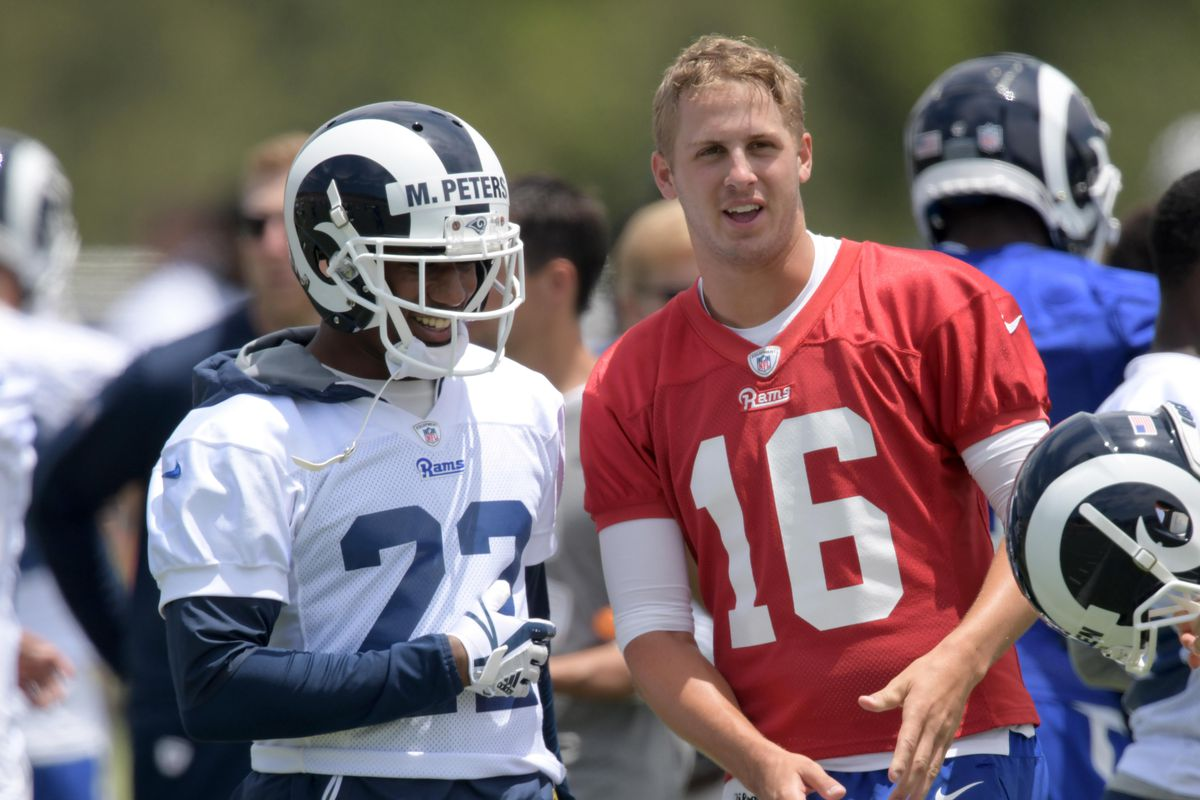 Los Angeles Rams CB Marcus Peters and QB Jared Goff during organized team activities, Jun. 4, 2018.