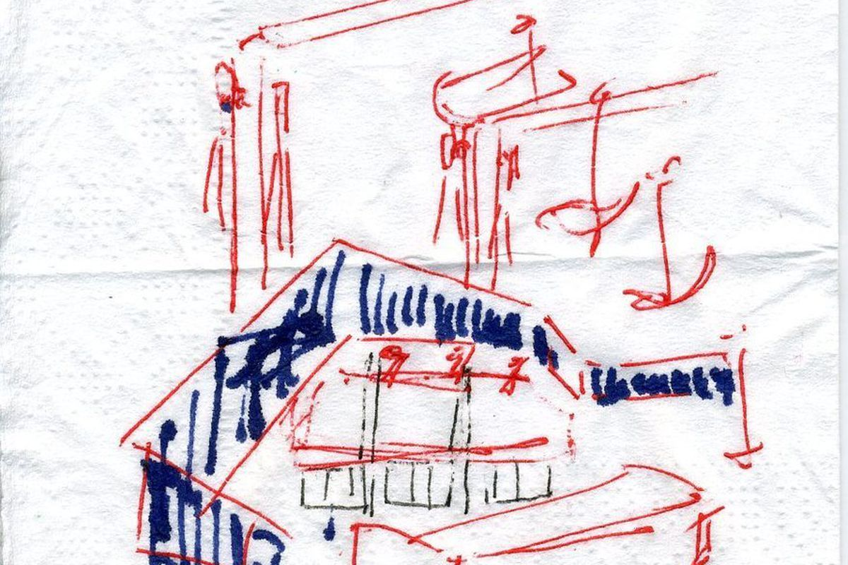 Raveled Studio sketch of staircase over bar.