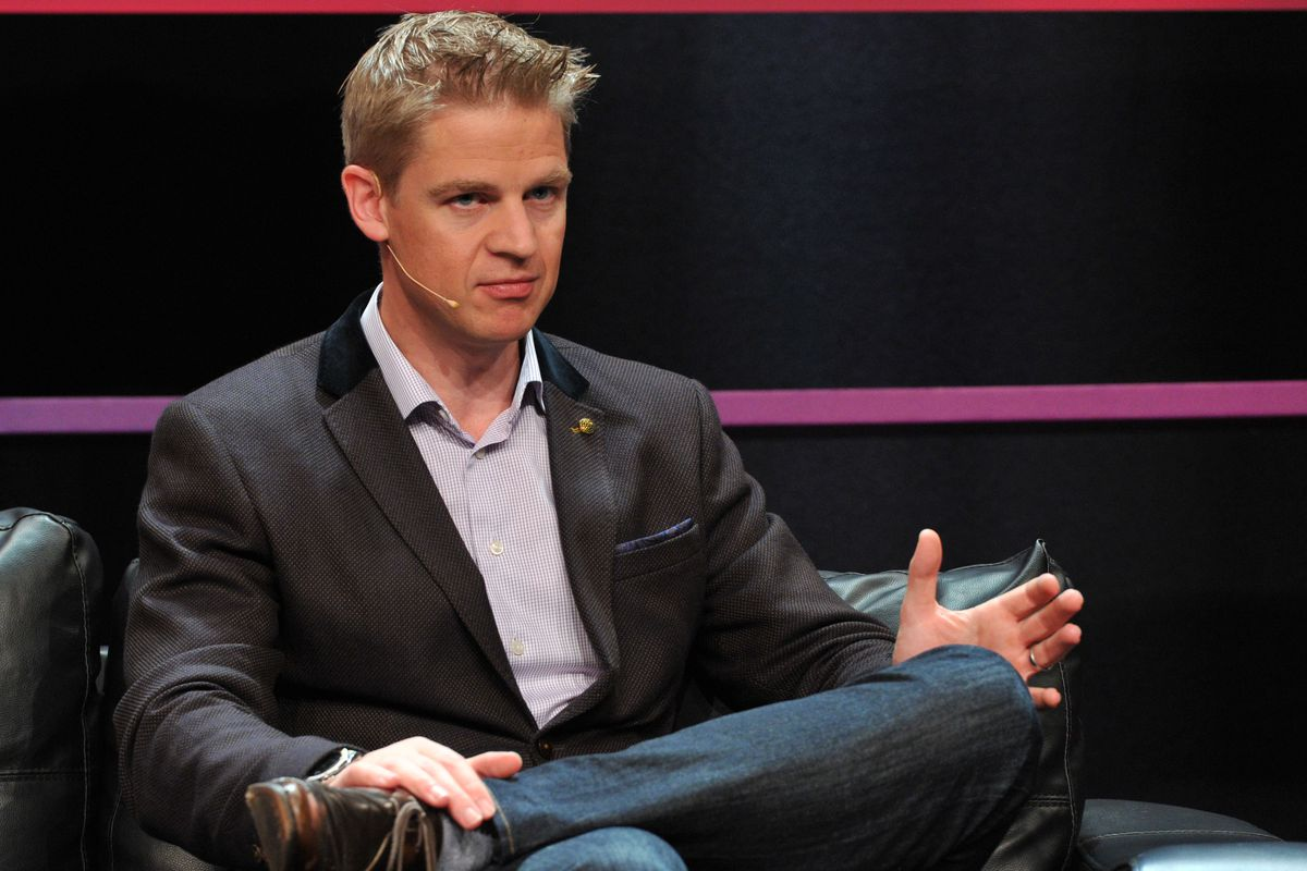 FanDuel CEO and co-founder Nigel Eccles sits onstage