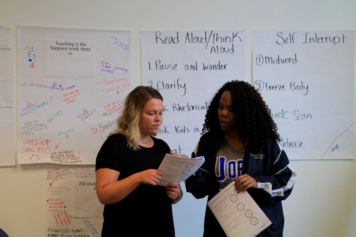 Memphis Delta Prep teachers practice classroom management skills during a training exercise.