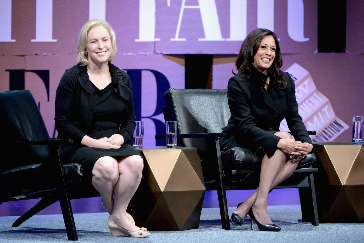 Sens. Kirsten Gillibrand (D-NY) and Kamala Harris (D-CA) at a Vanity Fair event in 2014. Both are running for president in 2020.
