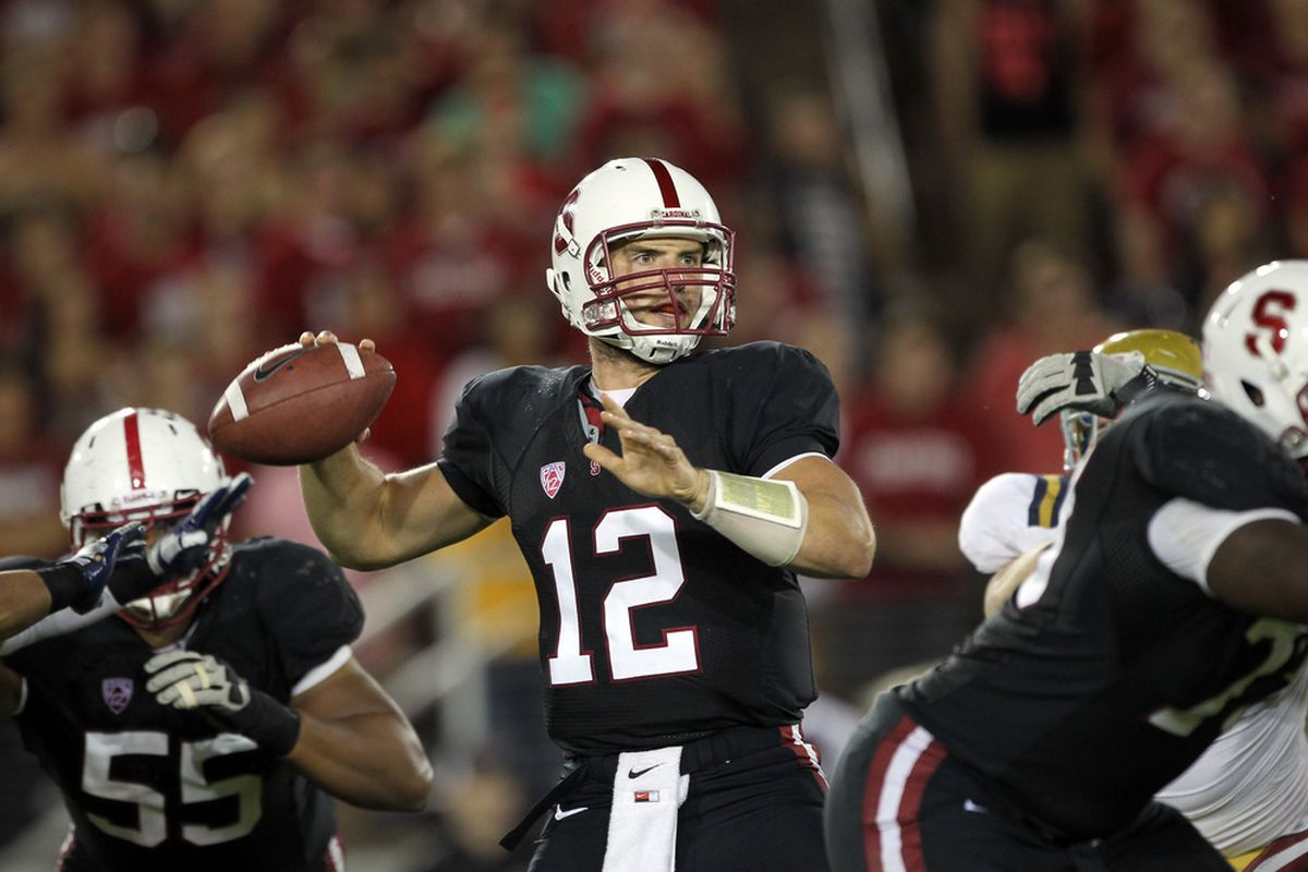 STANFORD, CA - OCTOBER 01:  Andrew Luck #12 of the Stanford Cardinal in action against the UCLA Bruins at Stanford Stadium on October 1, 2011 in Stanford, California.  (Photo by Ezra Shaw/Getty Images)