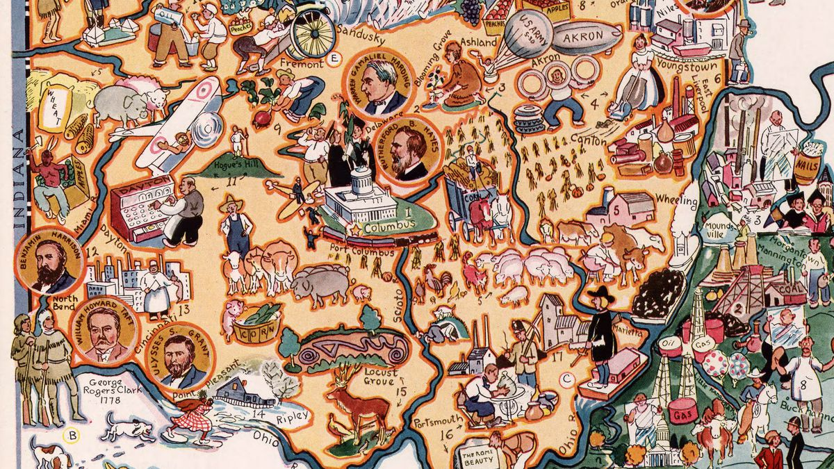 Ohio, as depicted in a colorful illustrated map.