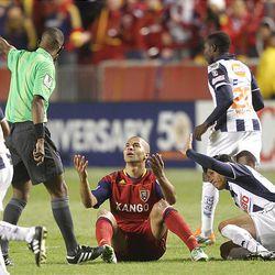 RSL's Alvaro Saborio looks for the call as Real Salt Lake play CF Monterrey at Rio Tinto Stadium in Sandy on  Wednesday, April 27, 2011.