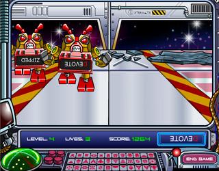 robots rouges avec du texte à l'envers marche vers l'image