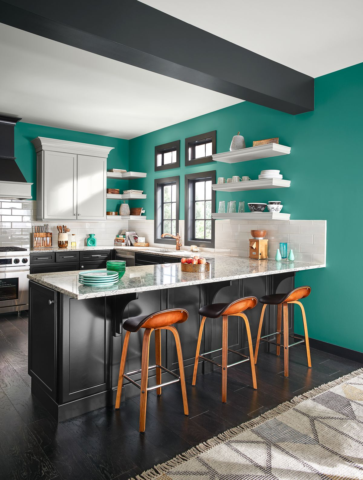 Mid-Century Home With Turquoise Interior And White Ceilings In Kitchen