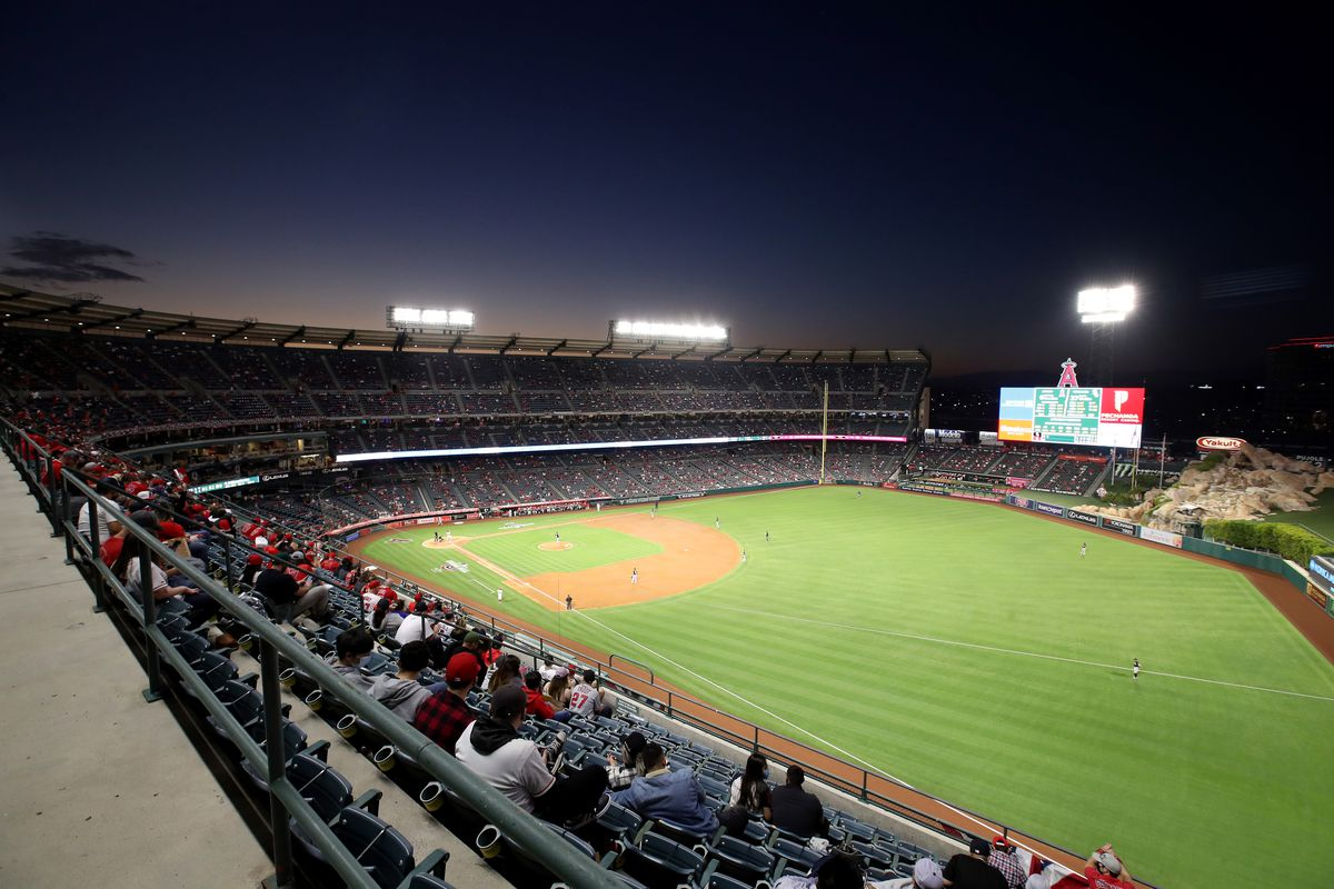 A general view during the second inning of the game between the Los Angeles Angels and the Chicago White Sox on Opening Day at Angel Stadium of Anaheim on April 01, 2021 in Anaheim, California.