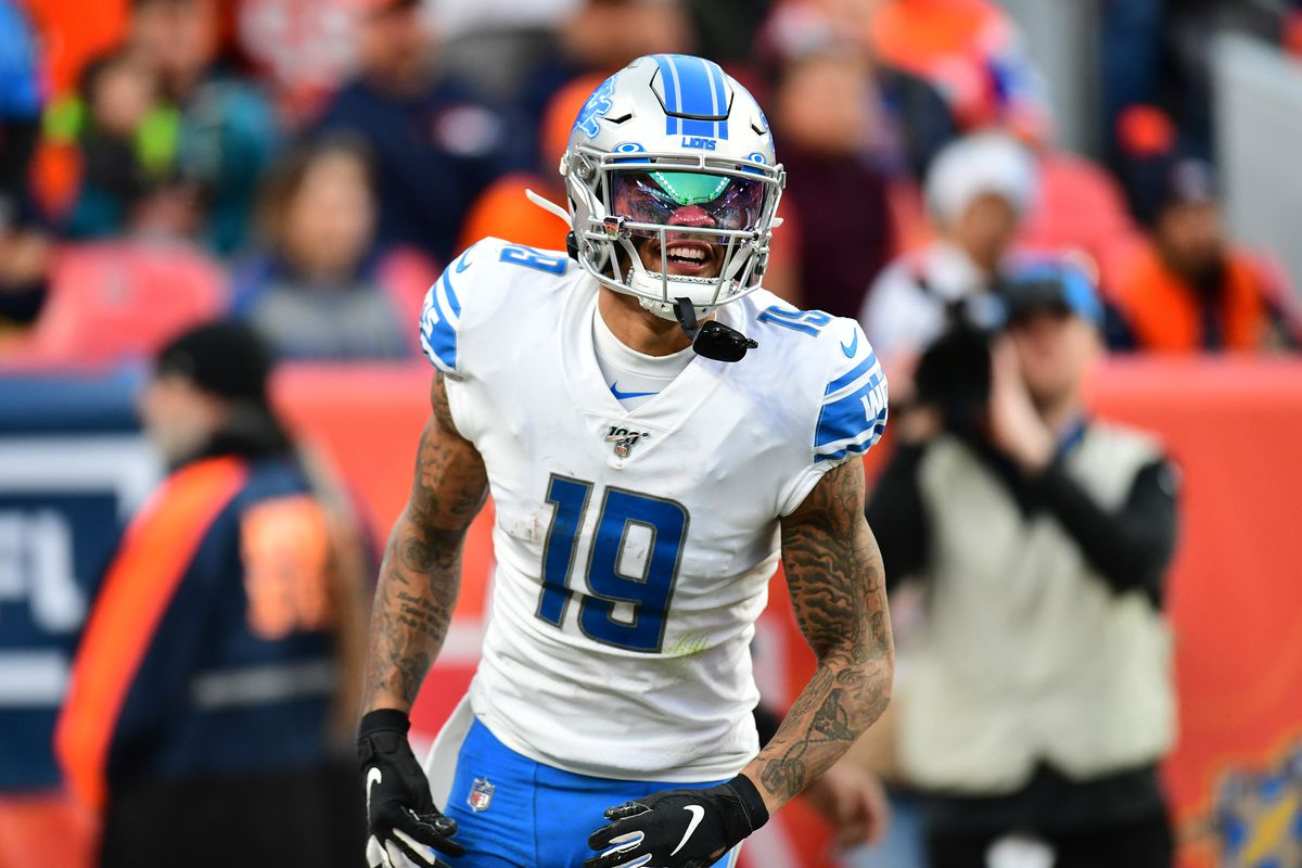Detroit Lions wide receiver Kenny Golladay celebrates his touchdown reception in the third quarter against the Denver Broncos at Empower Field at Mile High.