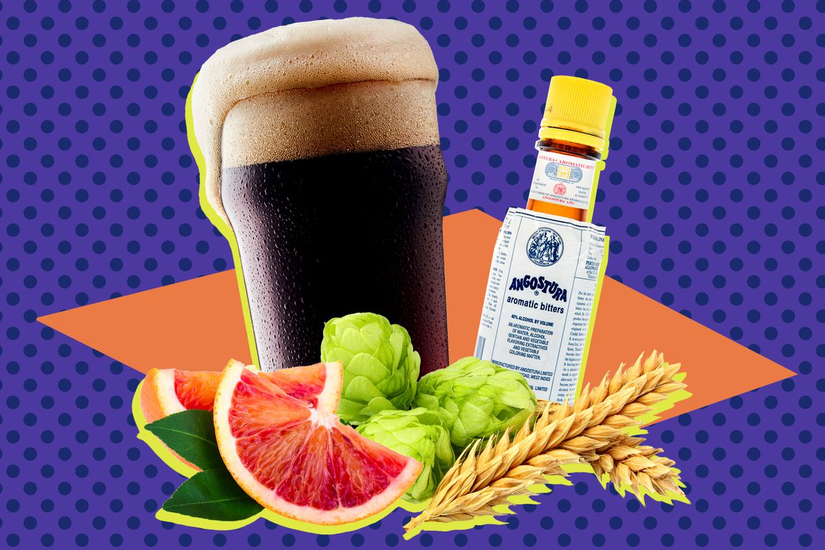A collage of a bottle of Angostura bitters, beer, grapefruit, and grains