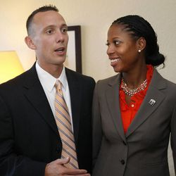 Mia Love, 4th District congressional candidate, with her husband, Jason.  Mia Love will be speaking at the Republican National Convention.    Monday, Aug. 27, 2012
