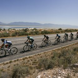 The peloton makes its way along the coastline during Stage 3 of the Tour of Utah on Antelope Island on Thursday, Aug. 15, 2019.