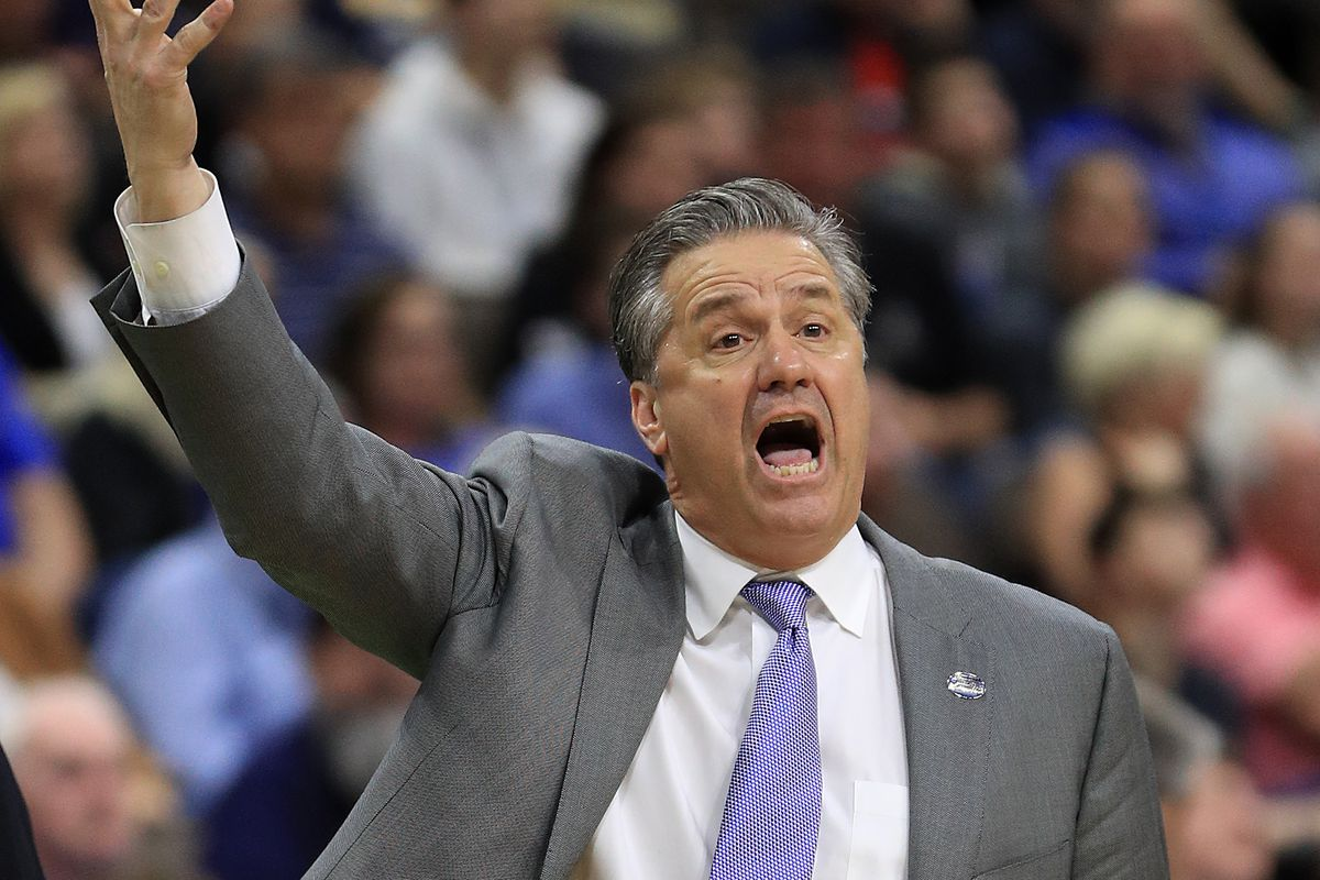 Head coach John Calipari of the Kentucky Wildcats reacts as they take on the Wofford Terriers during the second half of the game in the second round of the 2019 NCAA Men's Basketball Tournament at Vystar Memorial Arena on March 23, 2019 in Jacksonville, Florida.