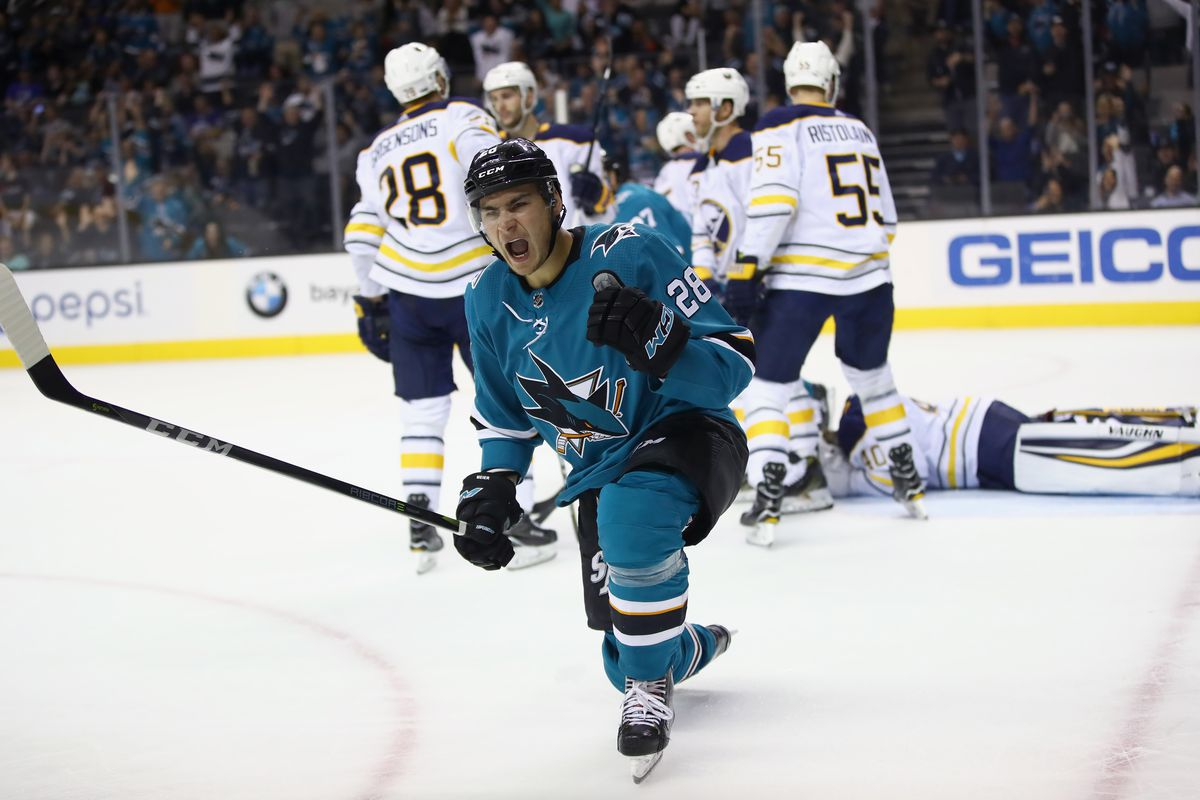 SAN JOSE, CA - OCTOBER 12: Timo Meier #28 of the San Jose Sharks reacts after he scored on the Buffalo Sabres at SAP Center on October 12, 2017 in San Jose, California. (Photo by Ezra Shaw/Getty Images)