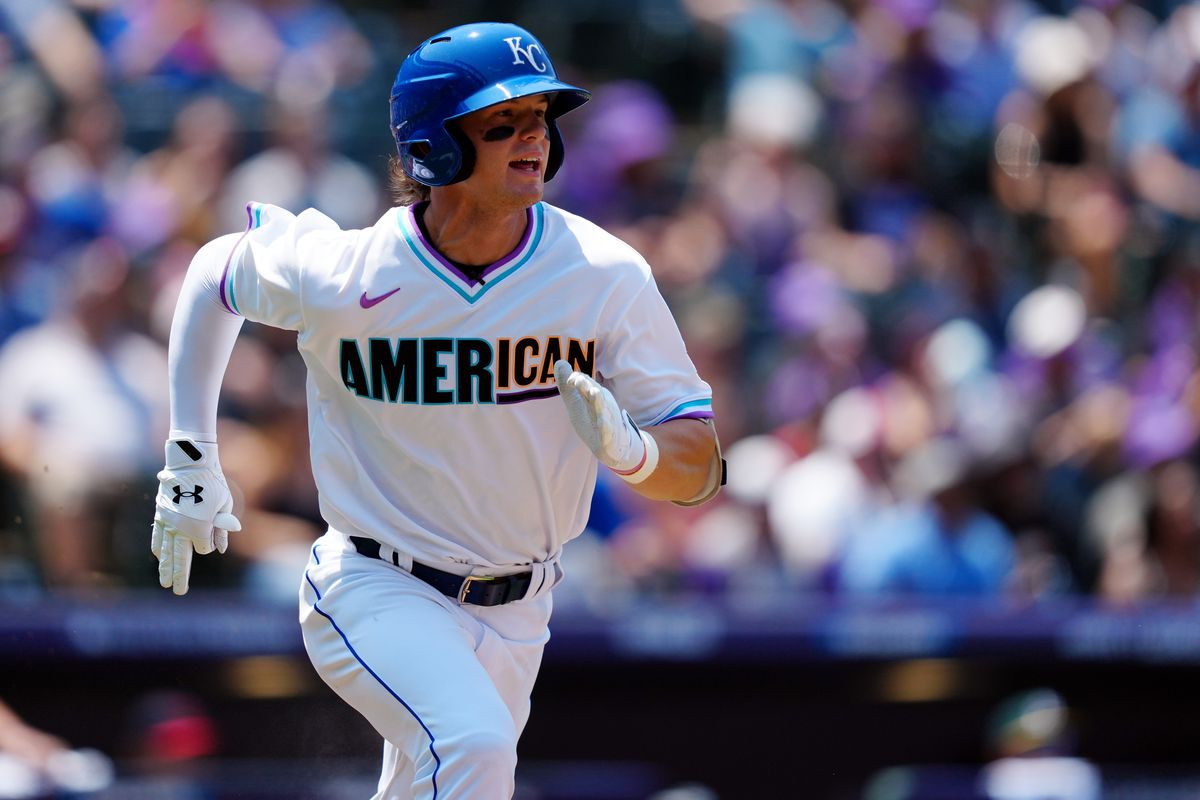 Bobby Witt Jr. #7 of the American League Team runs to first base during the 2021 Sirius XM Futures Game at Coors Field on Sunday, July 11, 2021 in Denver, Colorado.