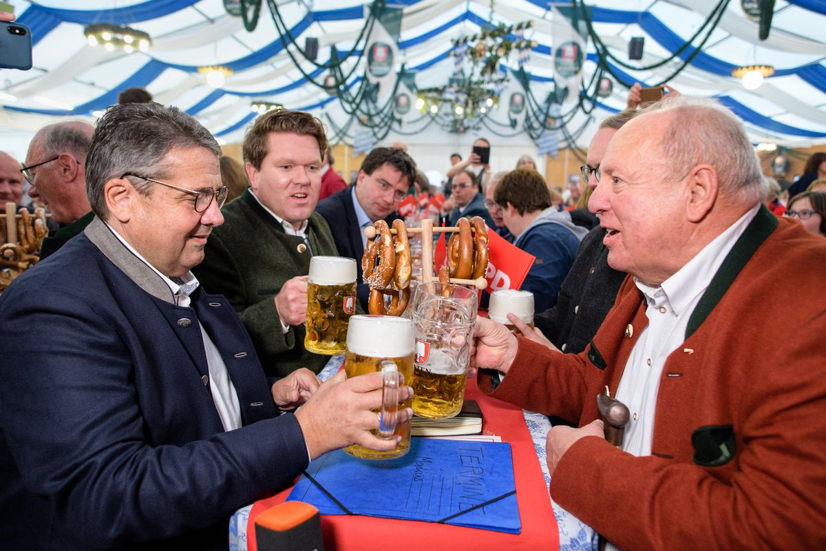 After the European elections - beer tent appearance Gabriel
