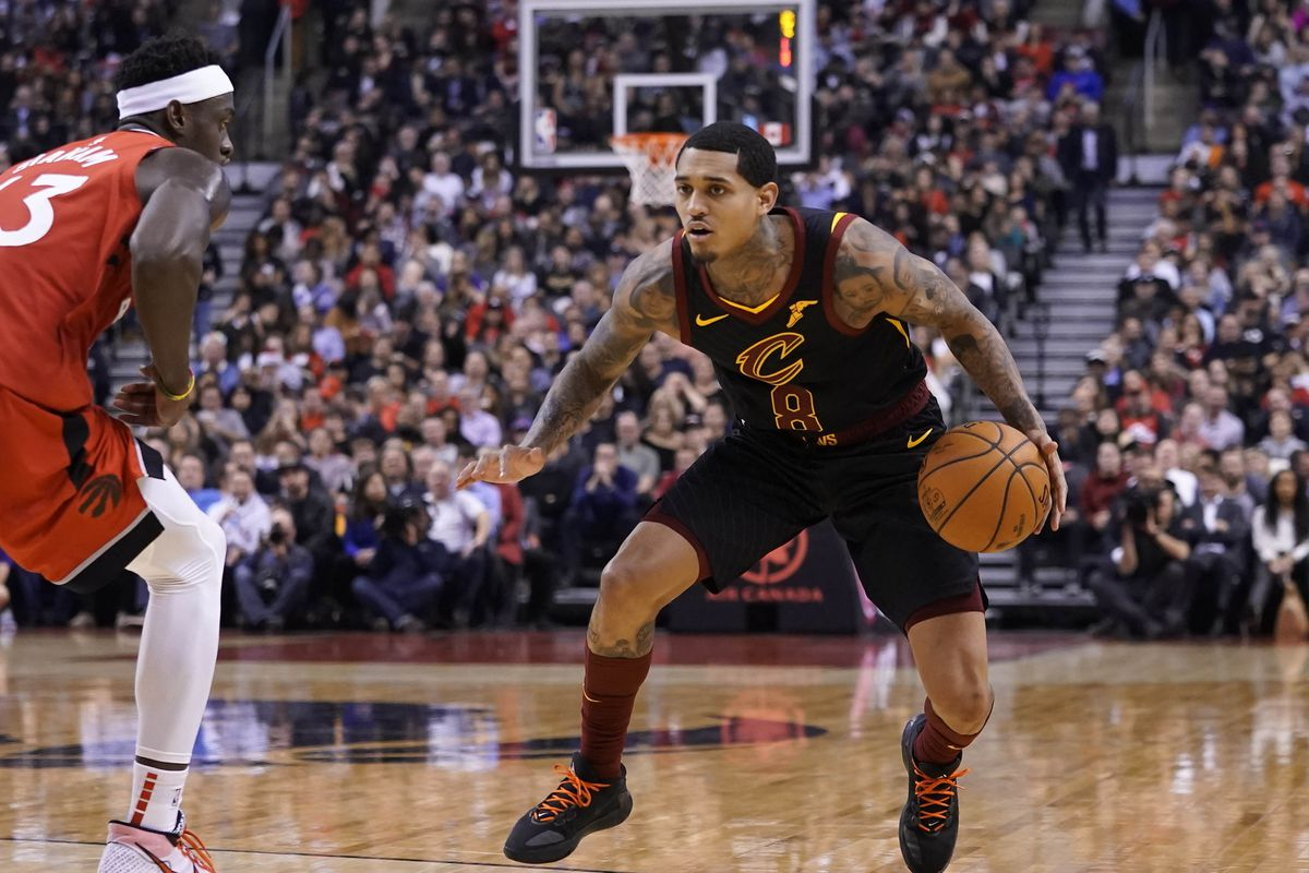 Cleveland Cavaliers guard Jordan Clarkson dribbles against Toronto Raptors forward Pascal Siakam at Scotiabank Arena. Toronto defeated Cleveland.