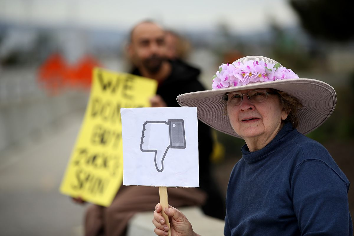 An older woman in a flowered hat holds an anti-Facebook protest sign with a thumbs-down icon.