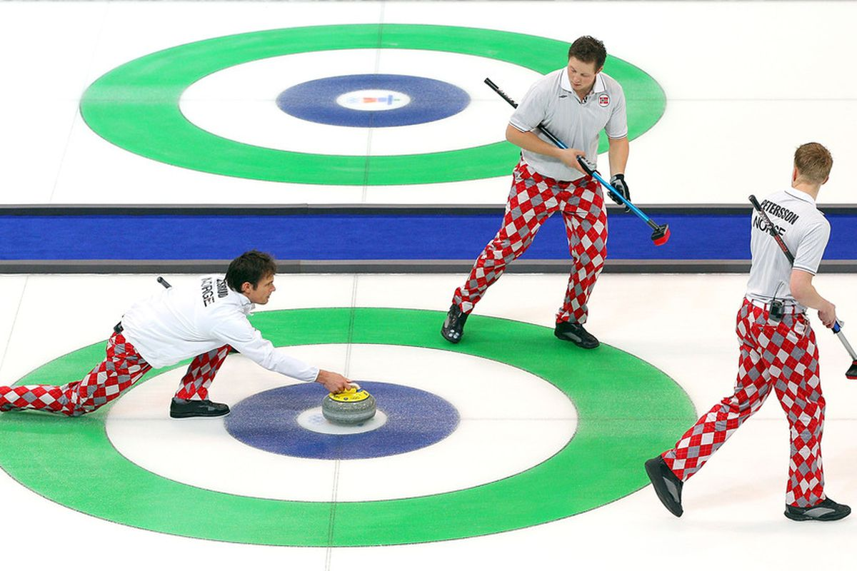 In curling it's not just the pants that can embarrass you.  . (Photo by Cameron Spencer/Getty Images)