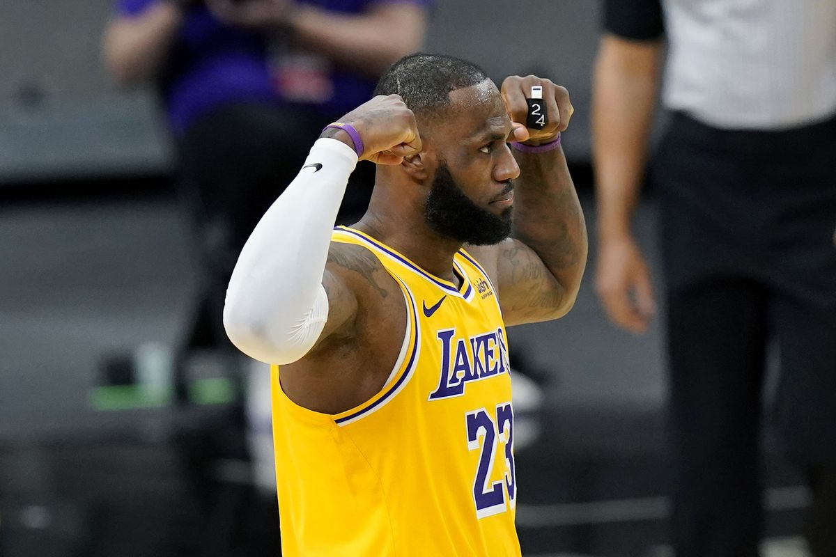 Los Angeles Lakers forward LeBron James (23) during the first half of an NBA basketball game against the San Antonio Spurs in San Antonio, Wednesday, Dec. 30, 2020. 'Space Jam: A New Legacy' is slated to premiere this summer