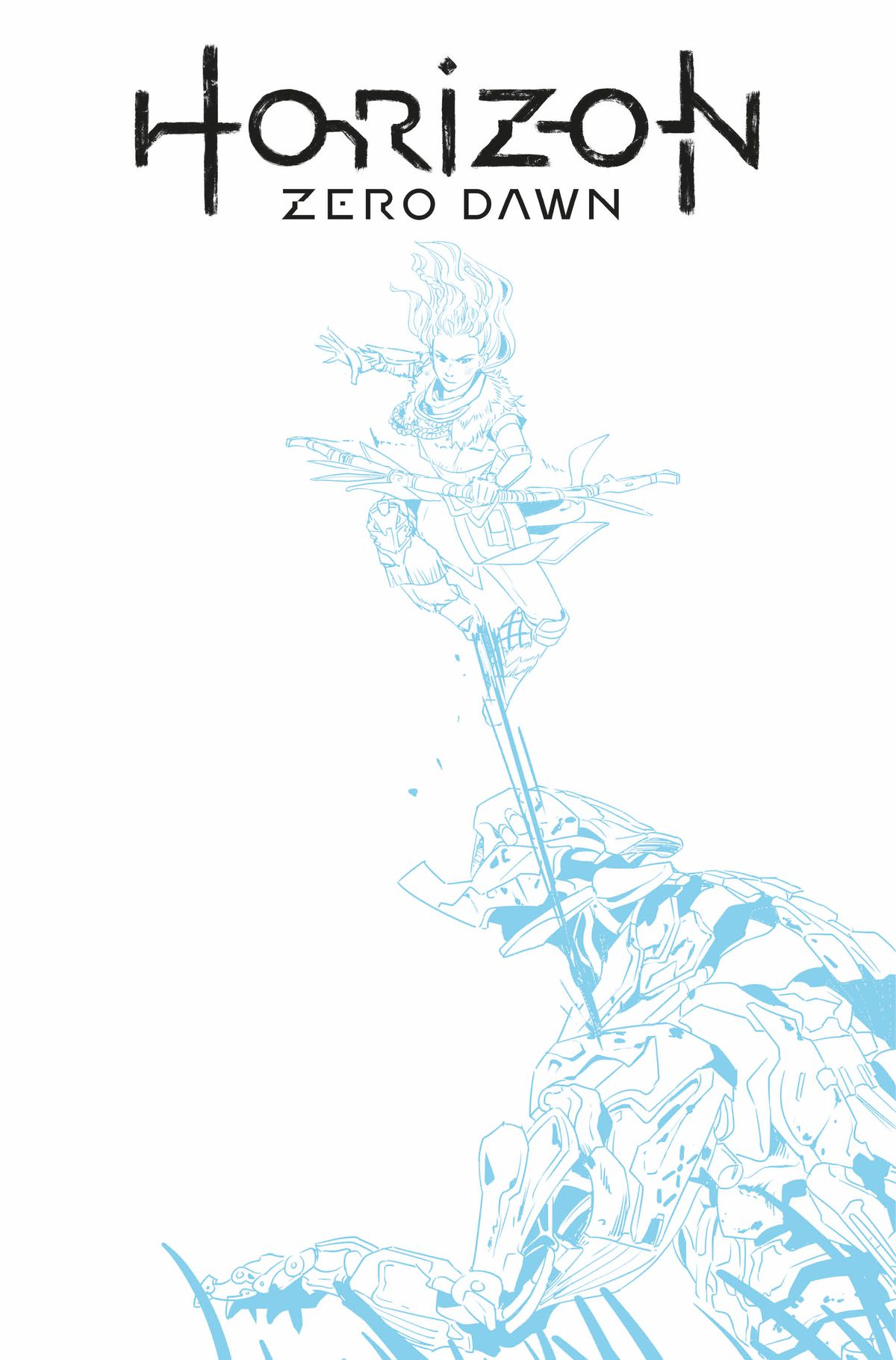 Horizon Zero Dawn #1, Titan Comics (2020) Cover F, a blue line sketch variant
