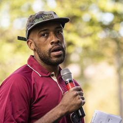 Wisconsin Lt. Gov. Mandela Barnes speaks during a rally in Civic Center Park, six days after Jacob Blake was shot in the back by a police officer in Kenosha, Saturday, Aug. 29, 2020.