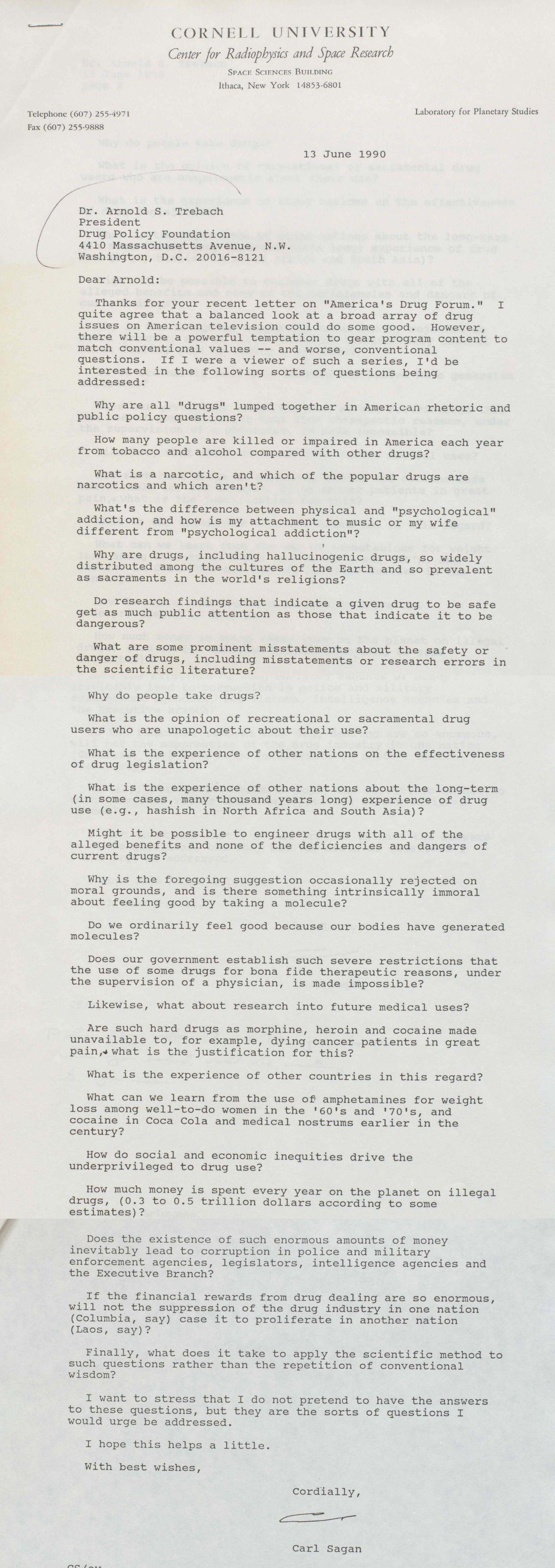Carl Sagan 1990 war on drugs letter