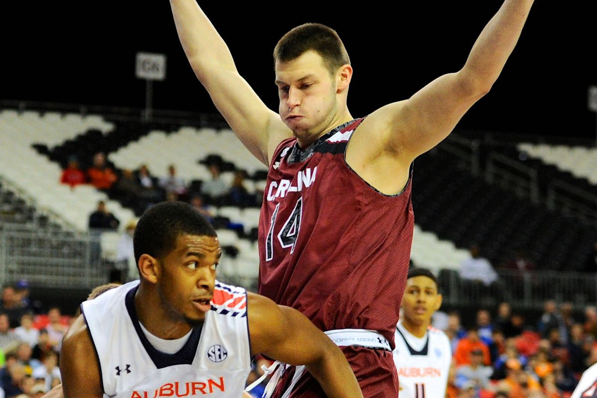 Laimonas Chatkevicius and the Gamecocks limited Auburn on Wednesday night in their SEC Tournament victory.