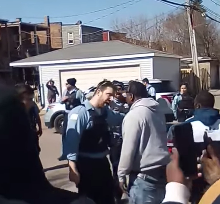 A video posted to social media in April 2020 shows dozens of West Side residents in a heated confrontation with Chicago police officers at Madison Street and Springfield Avenue in the Harrison District.