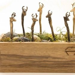 Cast Bronze Animal Hairpins - Hunter / Gatherer $120 each<br />We're particularly enamoured with these mysterious animal  hairpins in Hunter Gatherer's Menagerie Series. Perfect for the daytime need to quickly and casually put your hair in a bun without t