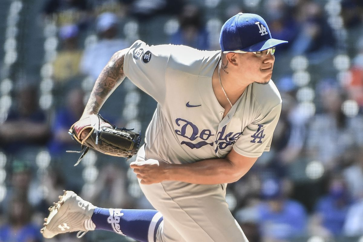 Los Angeles Dodgers pitcher Julio Urias pitches in the first inning against the Milwaukee Brewers at American Family Field.