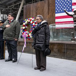 Brigadier General Kris A. Belanger, Governor J.B. Pritzker and Mayor Lori E. Lightfoot at the Veteran's Day ceremony at Soldier Field on Monday, Nov. 11, 2019.