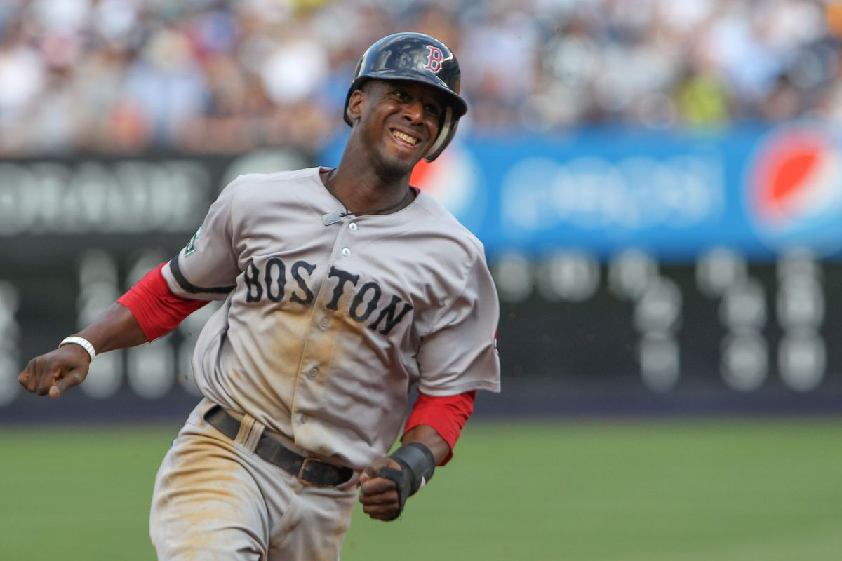 Aug 18, 2012; Bronx, NY, USA;  Boston Red Sox second baseman Pedro Ciriaco (77) rounds third base to score during the fifth inning against the New York Yankees at Yankee Stadium.  Mandatory Credit: Anthony Gruppuso-US PRESSWIRE