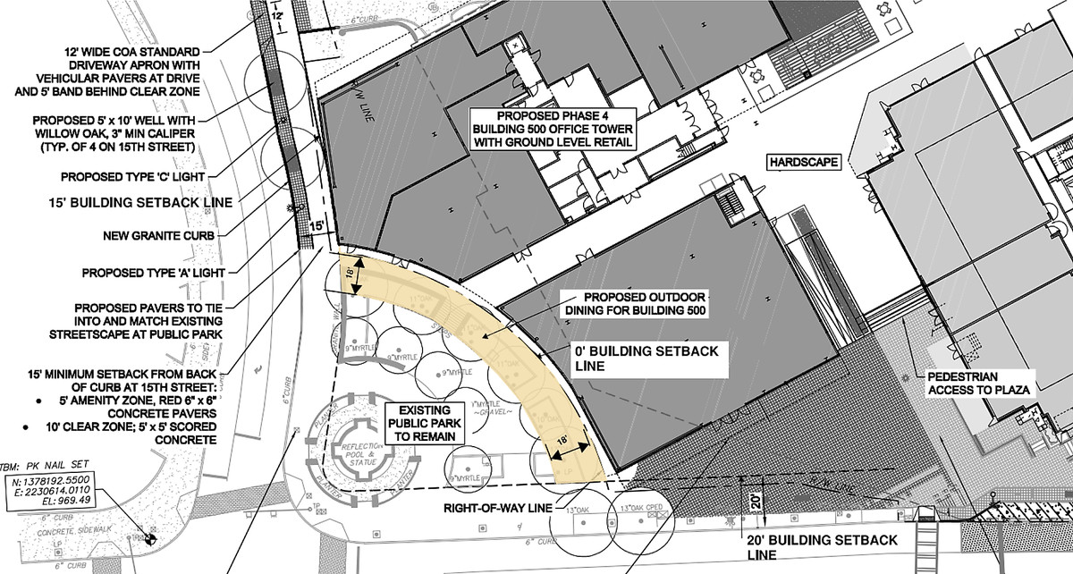 a blueprint of the park encroachment
