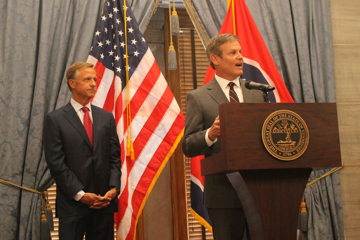 Gov.-elect Bill Lee speaks Wednesday during a joint press conference with outgoing Gov. Bill Haslam at the state Capitol on the day after Election Day.