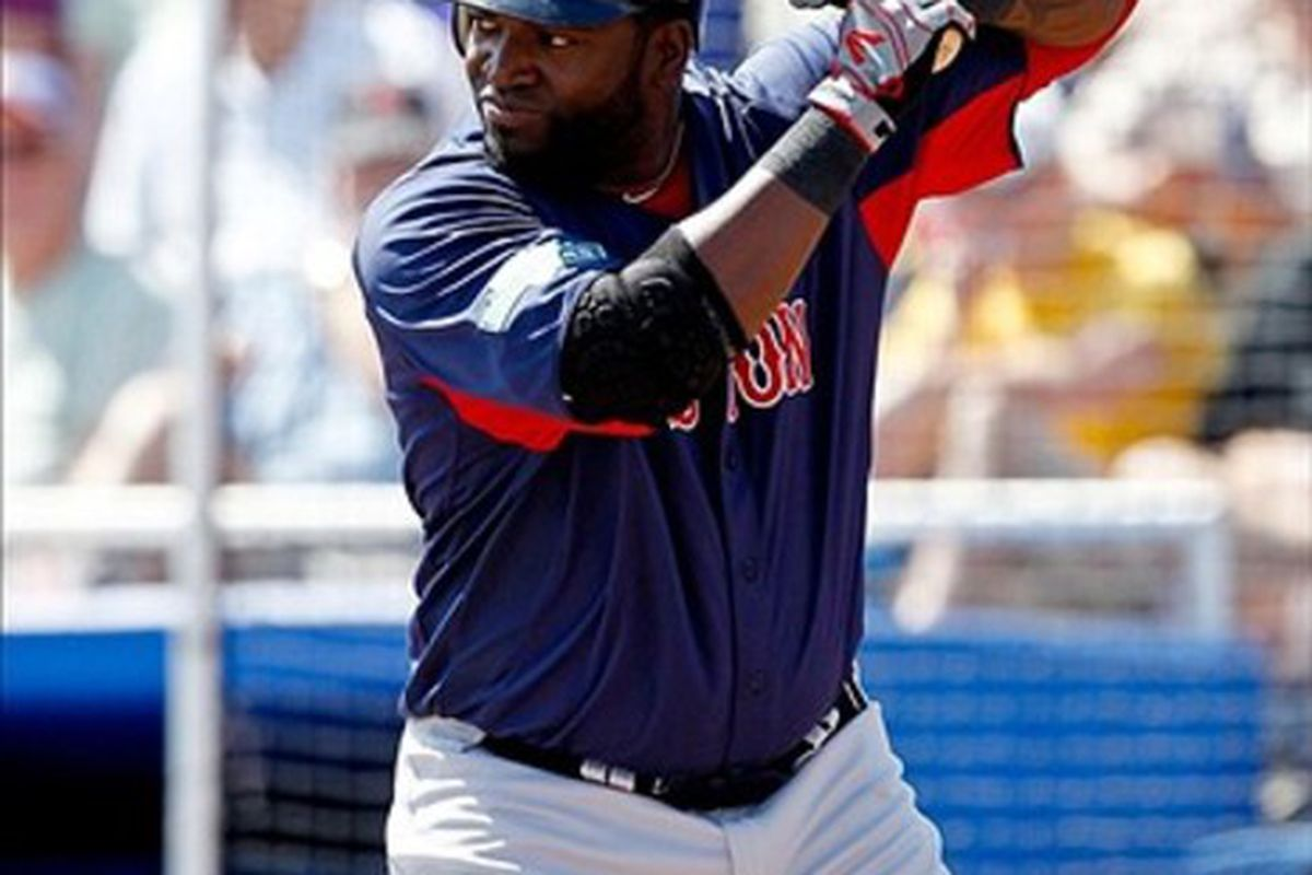 Boston Red Sox designated hitter David Ortiz at bat during the top of the second inning of a spring training game against the Toronto Blue Jays at Florida Auto Exchange Stadium. Mandatory Credit: Derick E. Hingle-US PRESSWIRE