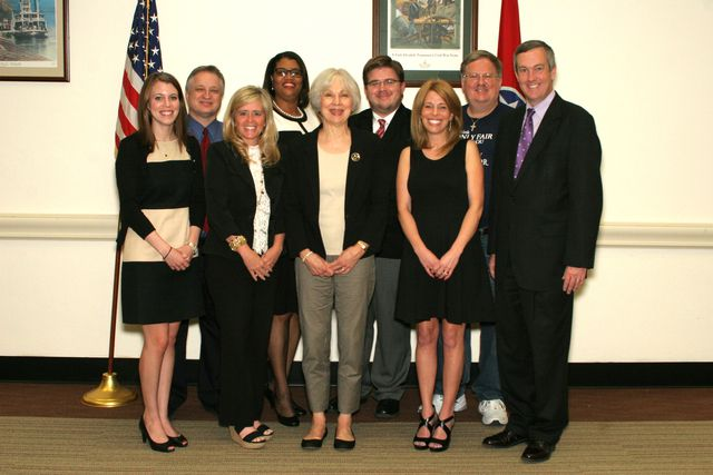 Members of the Secretary of State's Blue Book Curriculum Task force, including Secretary of State Tre Hargett, at right