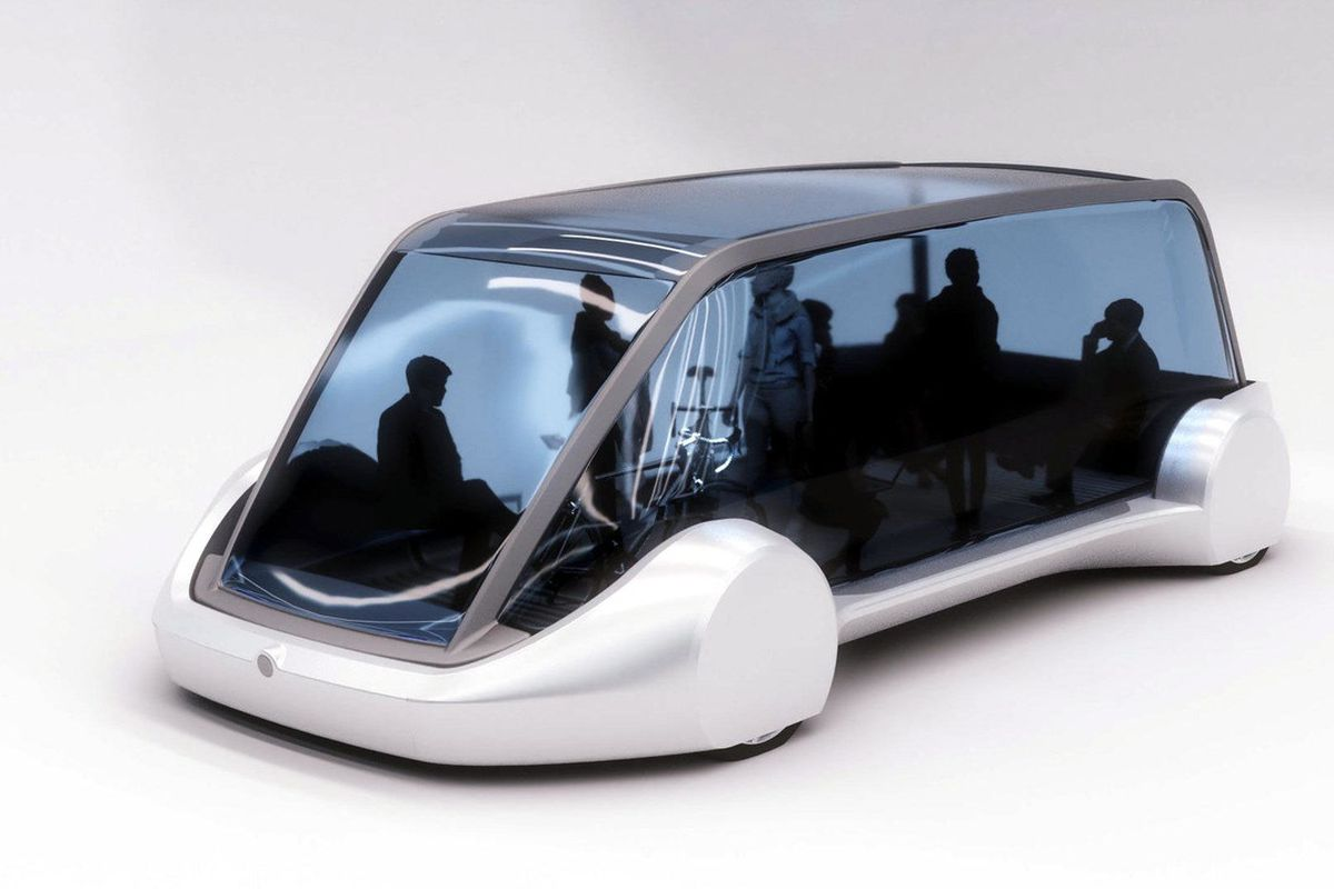A rendering of a futuristic-looking glass-walled van-like vehicle with a dozen figures shown seated or standing inside.