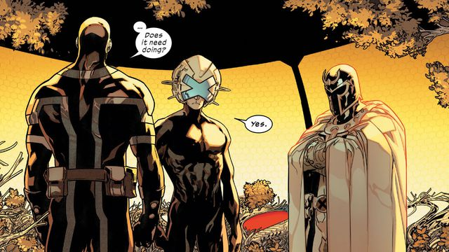 cyclops asks professor x whether he needs to travel through space to kill the sentinel mother mold