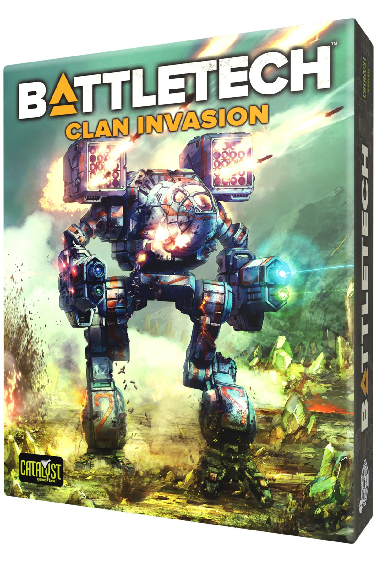 Box art for the Clan Invasion boxed set shows a TimberWolf shrugging off a blast of incoming fire.
